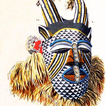 Afrikanische Hörnermasken aus Kamerun, Kongo und Angola.
