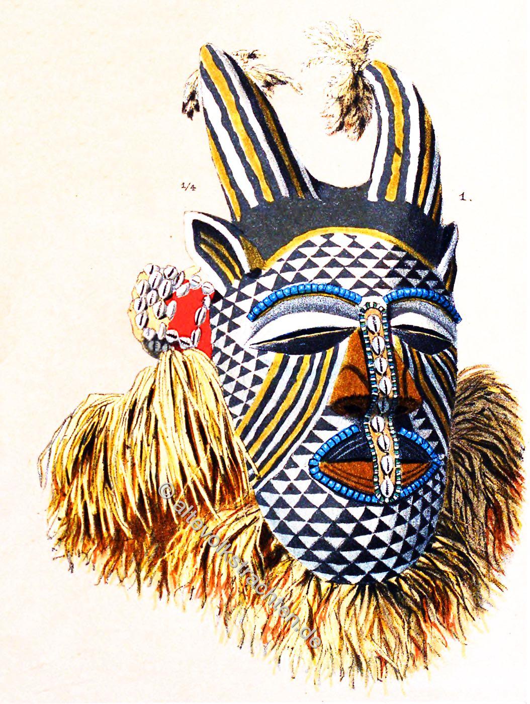 Maske, Sankuru-Fluss, Kongo, Afrika, Hörnermaske