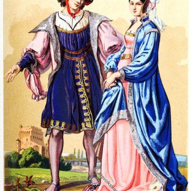 Franz. Lord und Edeldame, Ende des 15. Jahrhunderts.