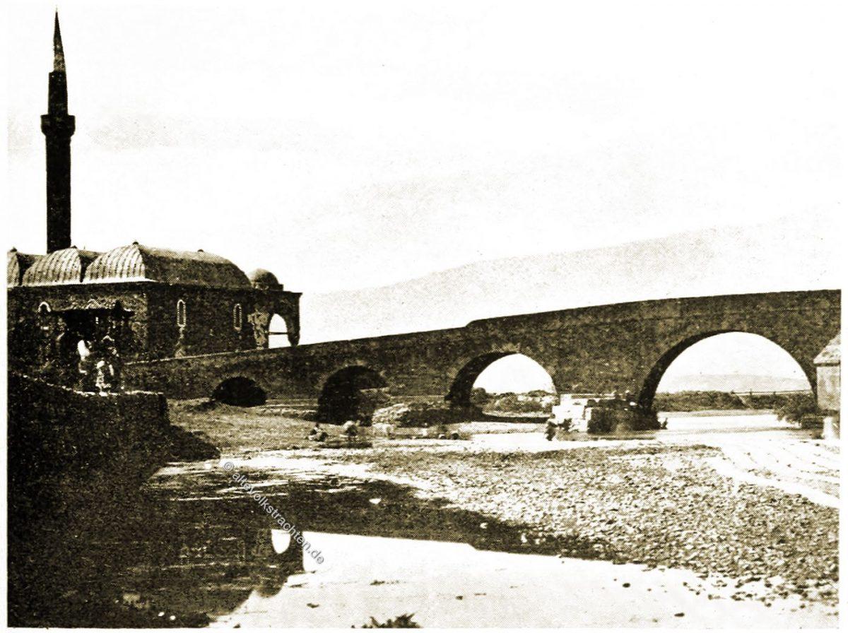 Steinbrücke, Uskup, Skopje, Nordmazedonien, Balkan, Historische Ansicht