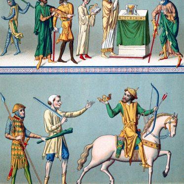 Bürgerliche, militärische und geistliche Trachten des Mittelalters.