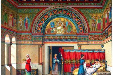 Donjon, Mittelalter, Herrenwohnung, Bergfried, Einrichtung, Möbel, Gotik,