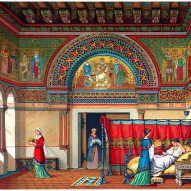Der Donjon. Inneres einer Wohnung im Mittelalter.