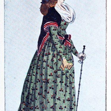 Englisches Etuikleid aus Baumwolle 1794.