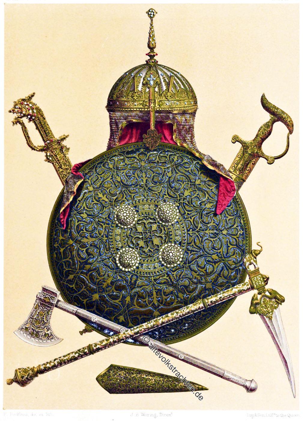 Mogulreich, Damaszener Waffenschmiede, Martel , Streitaxt, Helm, Schild, Helm, Schild ,