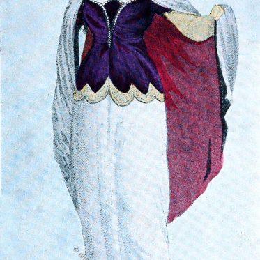 Regency Kostüm. Korsage mit Spitze und Perlen.