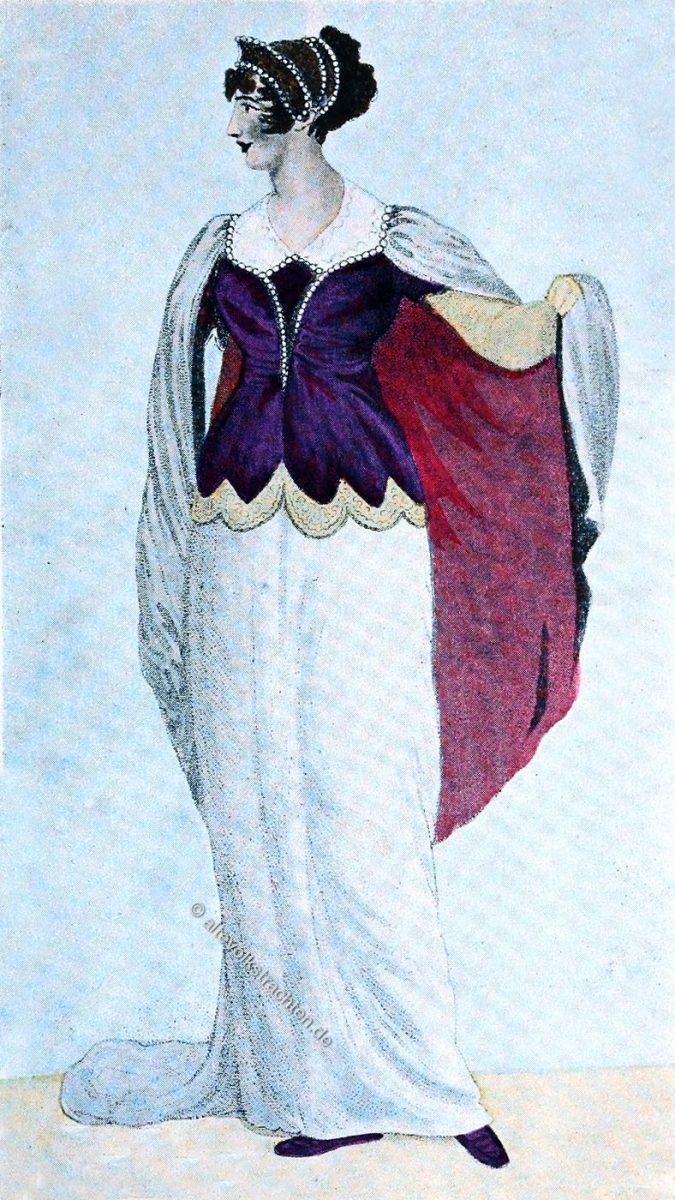 Korsage mit Spitze und Perlen verziert. England Regency Mode 1809.