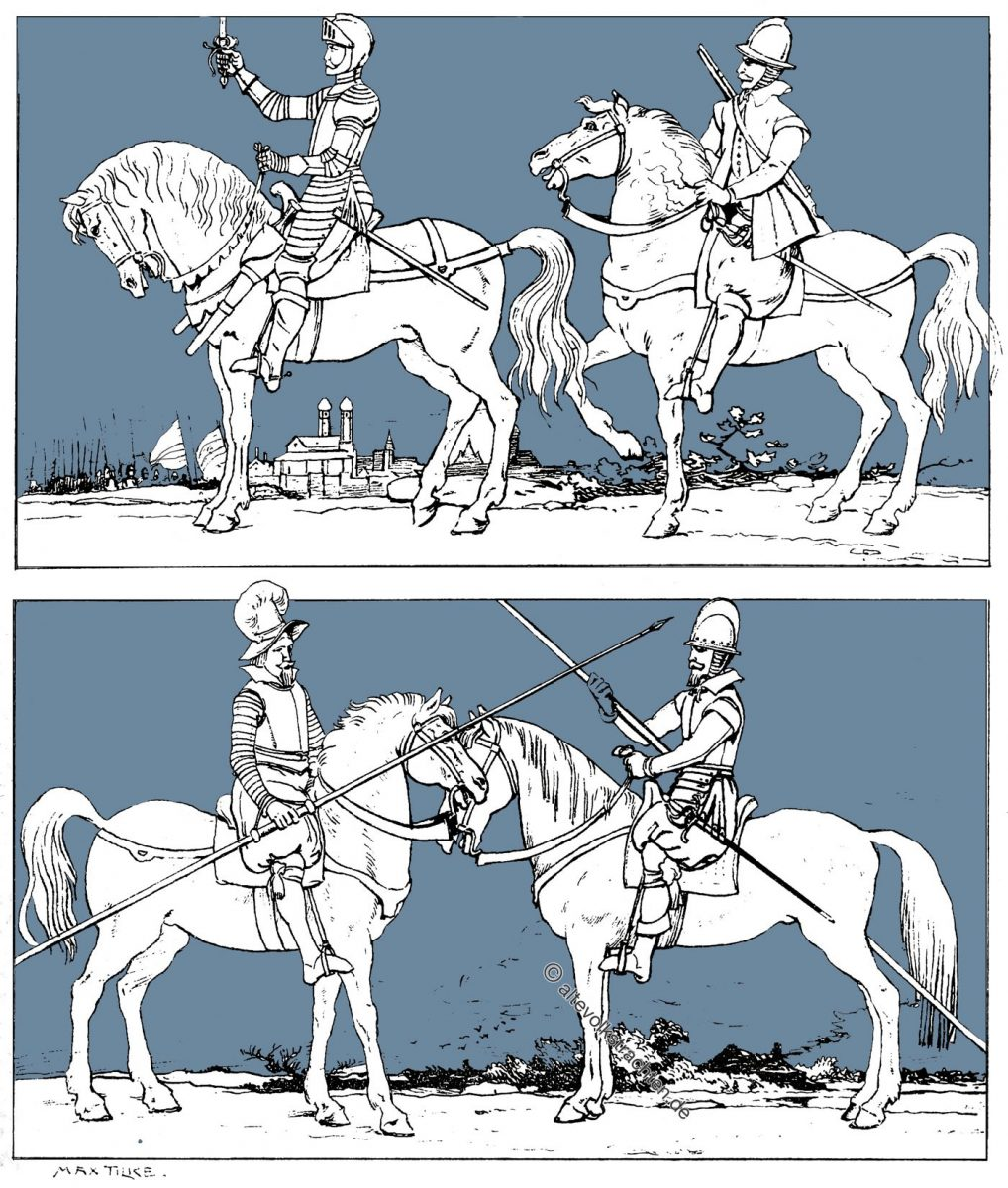 Reiterei, Barock, Kostümgeschichte, Arkebusiere, Karabiniere, Dragoner, Kürassiere, Lanzenreiter