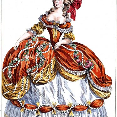 Gräfin von Sabran in Grande Robe de Cour à l'étiquette.