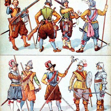 Deutsche Kriegstrachten des Dreißigjährigen Krieges.