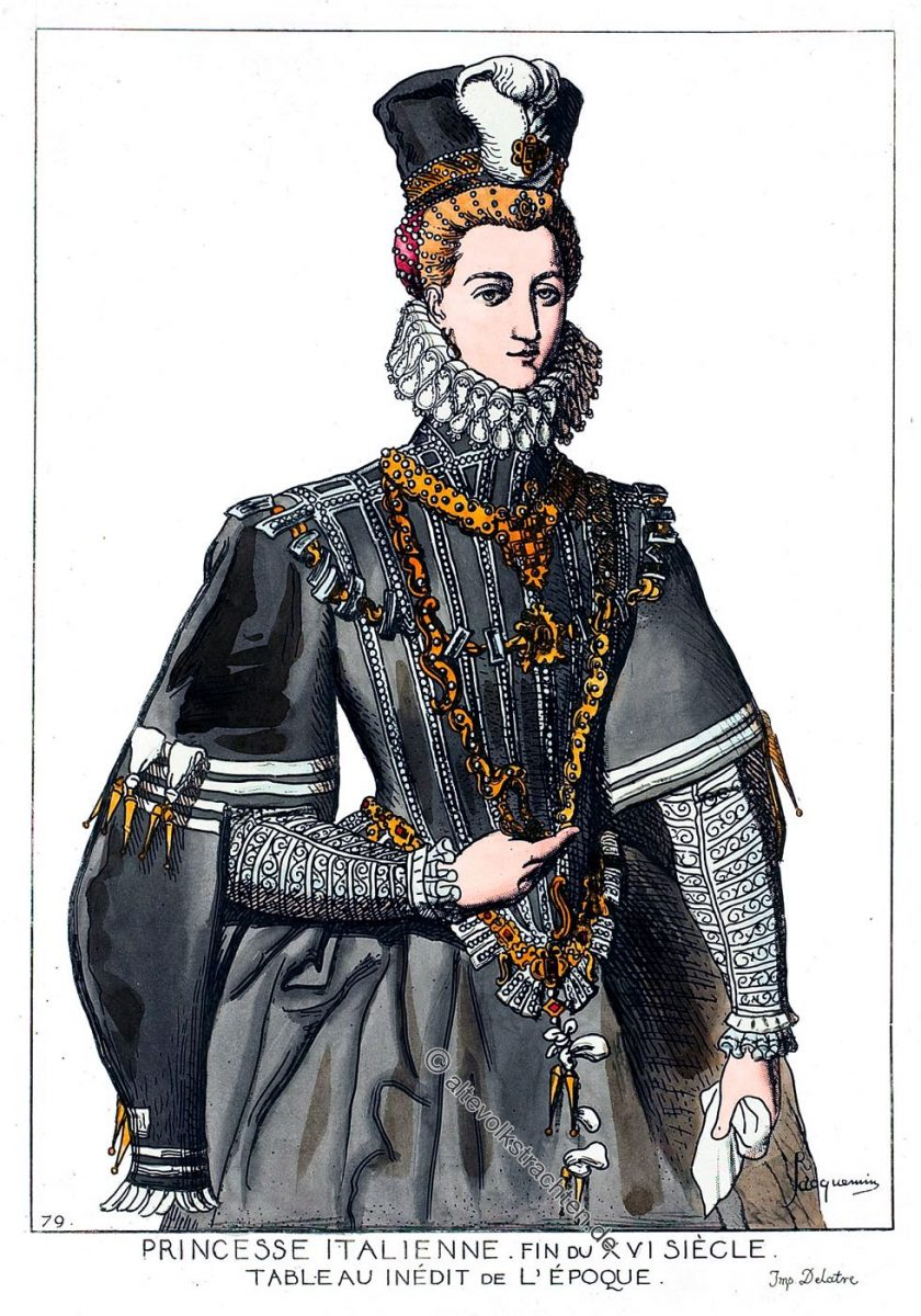 Princesse Italienne. Fin du XVIe siècle. Tableau inédit de l'époque. Renaissance.