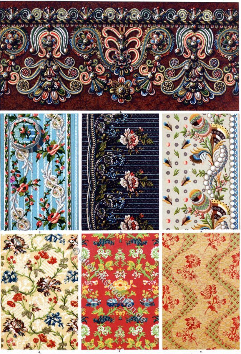 Stickerei, Stoffmuster, Ornament, Barock, Rokoko, Louis XiIV, Louis XV,