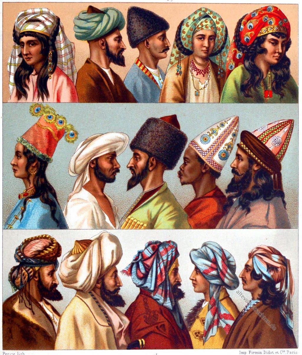 Turban, Fez, Lammfellmütze, Püskül, Kinkab, Tarbusch, Auguste Racinet