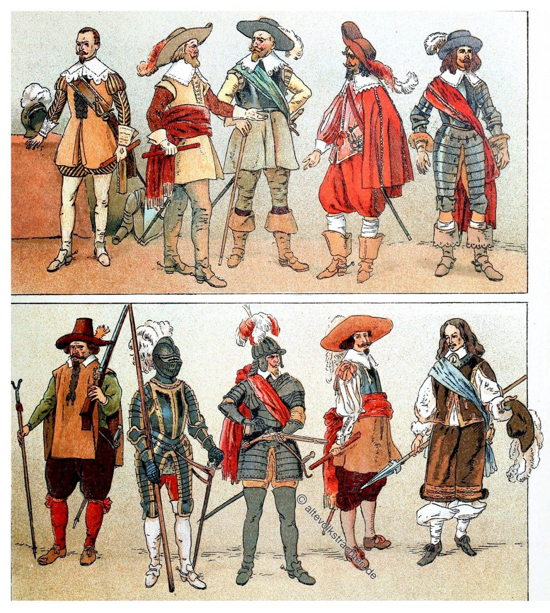 Feldkostüme. Am dreissigjährigen Krieg beteiligte fürstliche Personen.