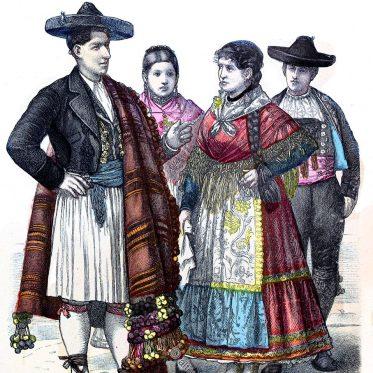 Historische Trachten aus Alicante und Zamora.