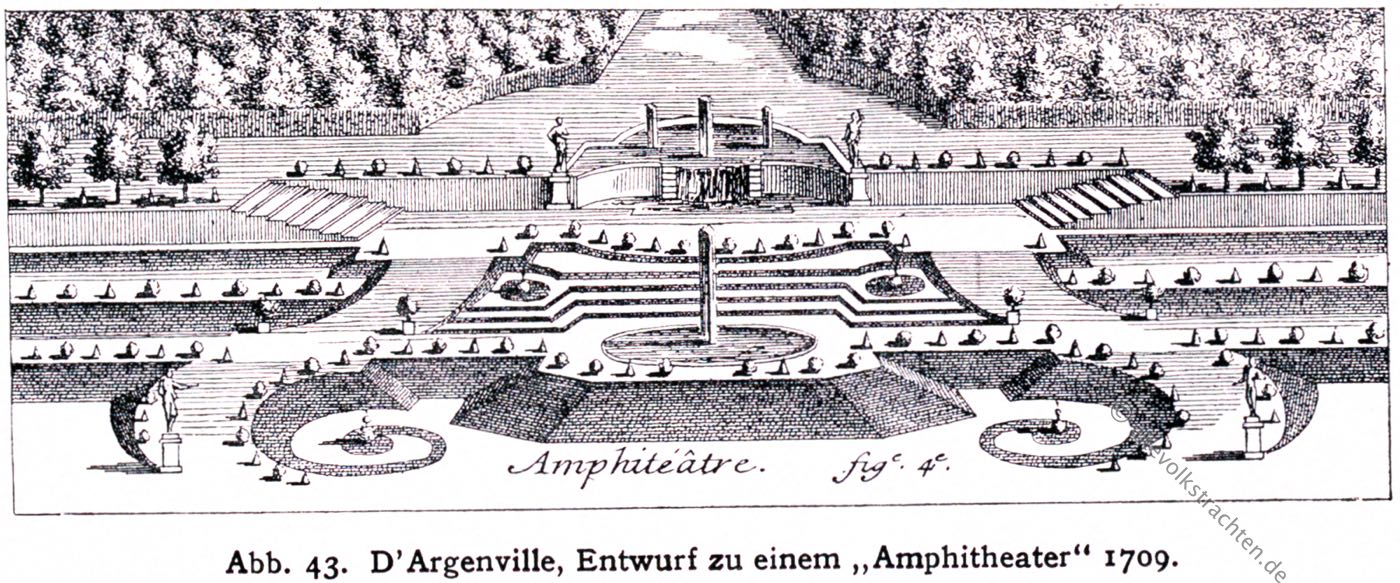 Amphitheater,  D'Argenville, Barock, Garten