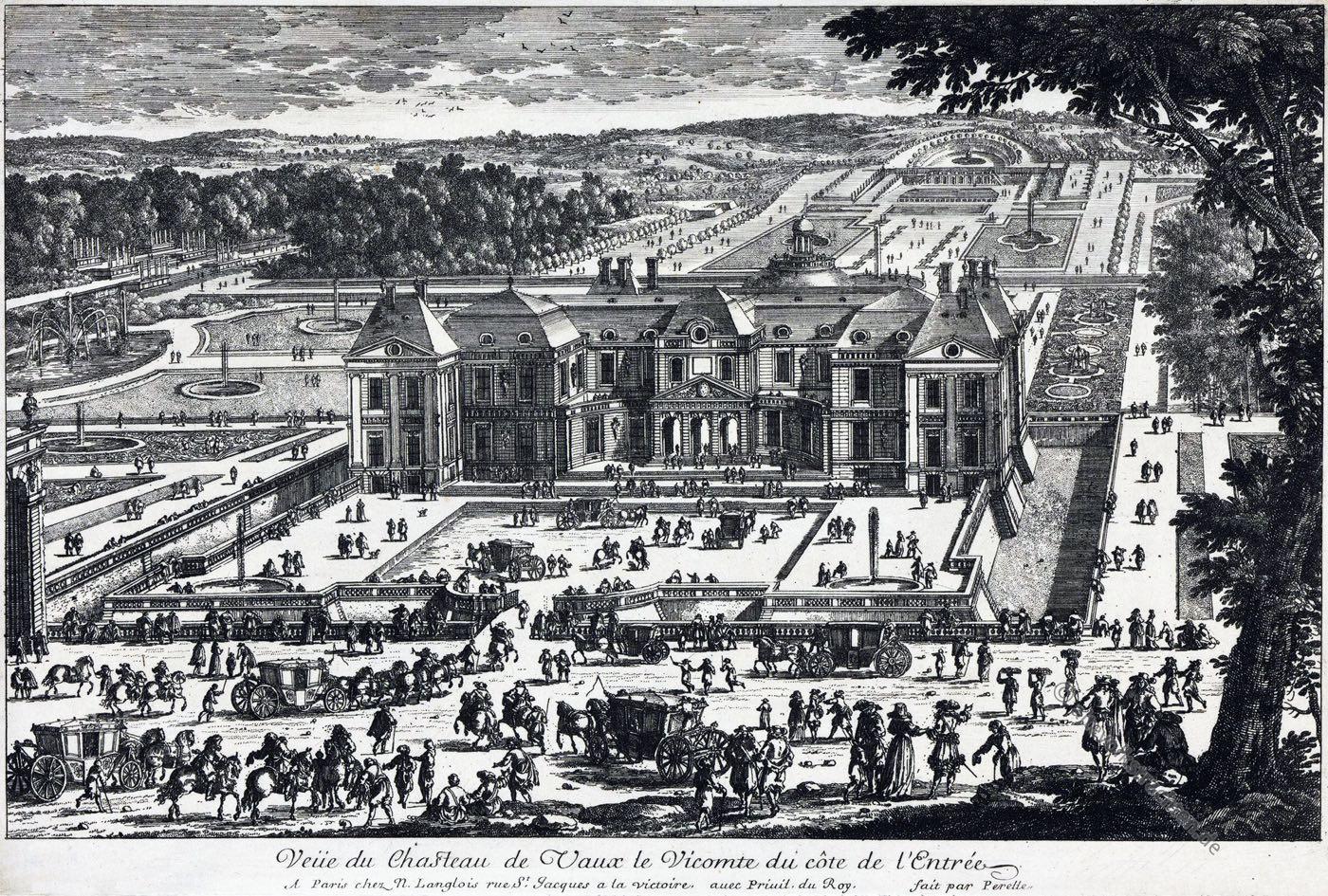 Vaux-le-Vicomte, Schloß, Garten, Gartenanlage, Kupferstich