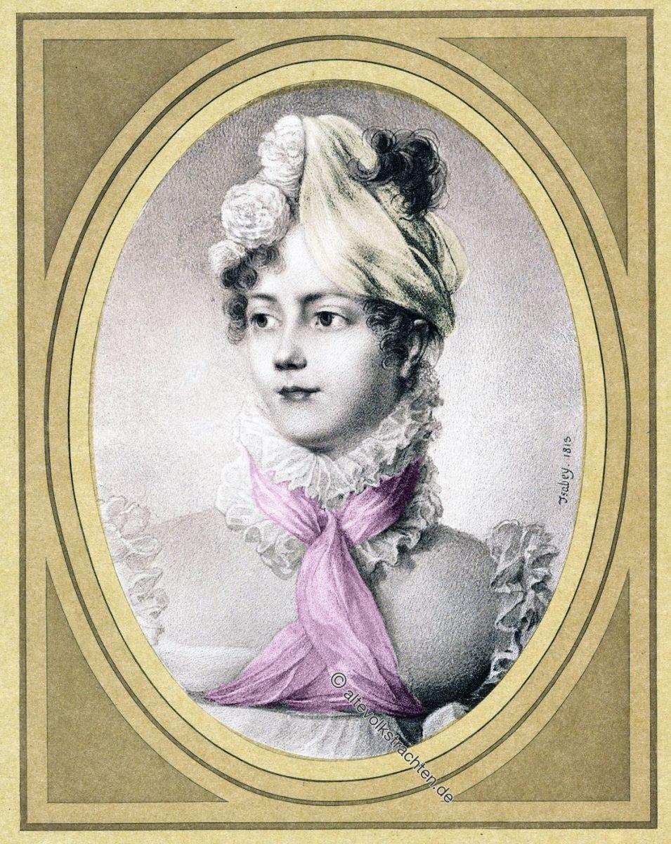La Maréchale Marmont, Herzogin von Raguse. Miniatur von Jean-Baptiste Isabey 1819.