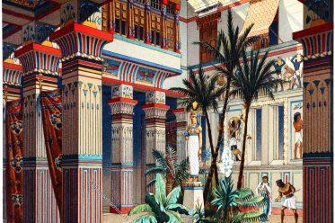 Ägypten, Palast, Antike, Altertum, Auguste Racinet