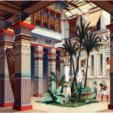 Plan und Ansicht des inneren Hofes eines ägyptischen Palastes.