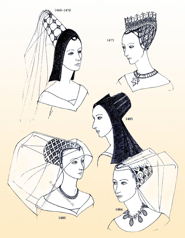 Haube, Entwicklung, Hennin, Mittelalter, Mode, Kostüm, Gotik