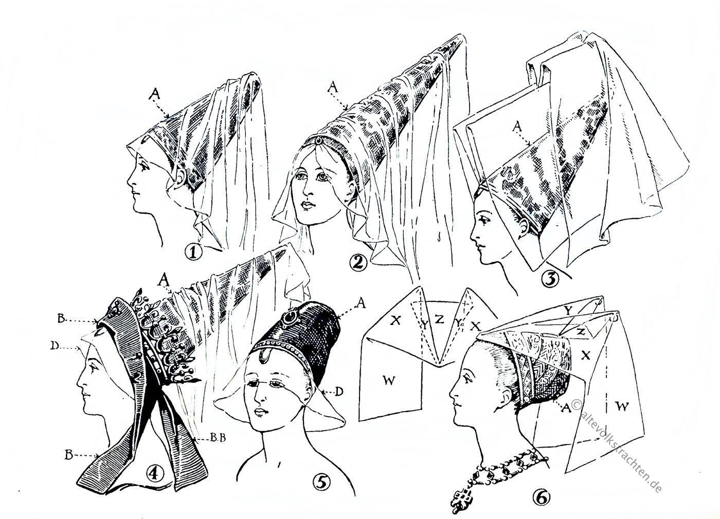 Hennin, Mittelalter, Hutmode, Gotik