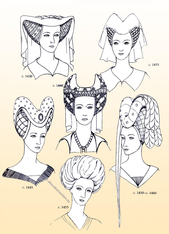 Entwicklung, Hennin, Mittelalter, Mode, Kostüm,