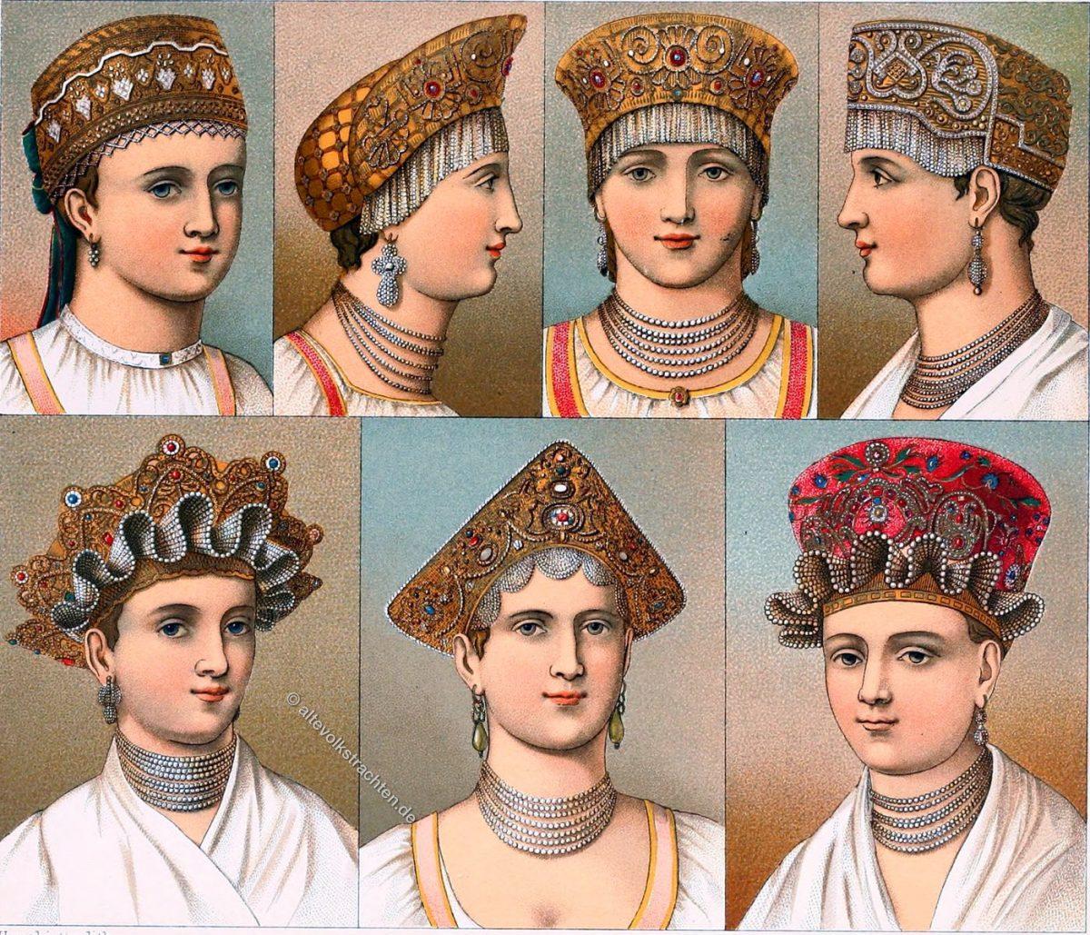 Kopftrachten, Hauben, Volkstracht, Kopfbedeckung, Hüte, Russische Trachtenhauben