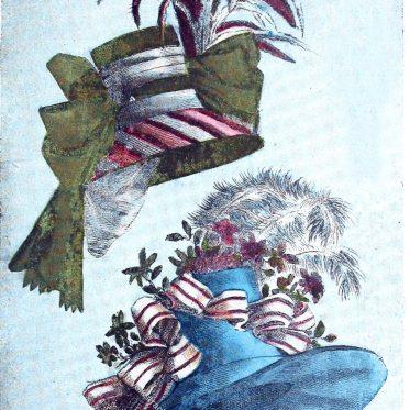 Magasin des Modes Nouvelles. Französische Hutmode im Jahre 1787.