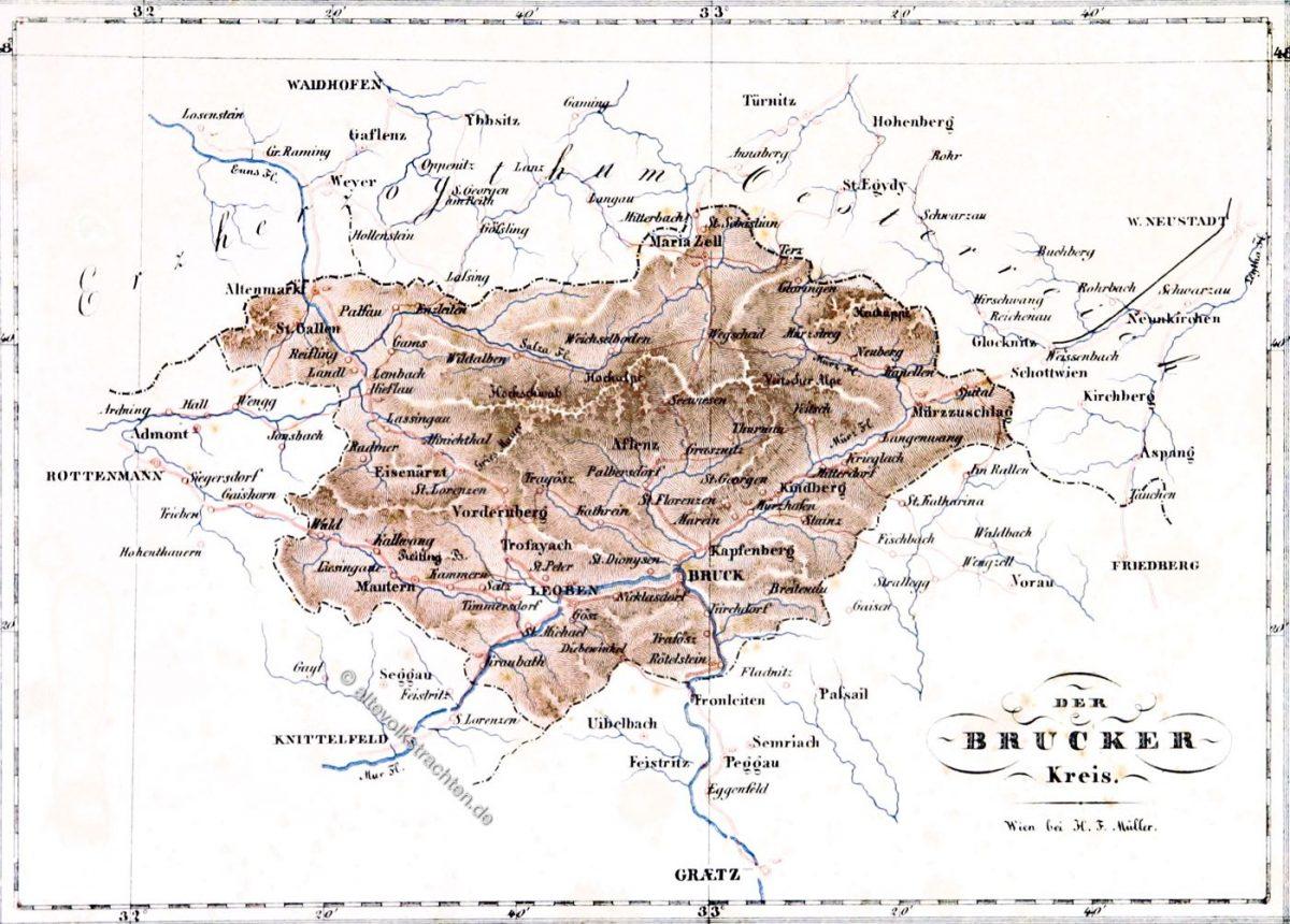 Landkarte, Herzogtum, Steiermark, Österreich, Brucker Kreis