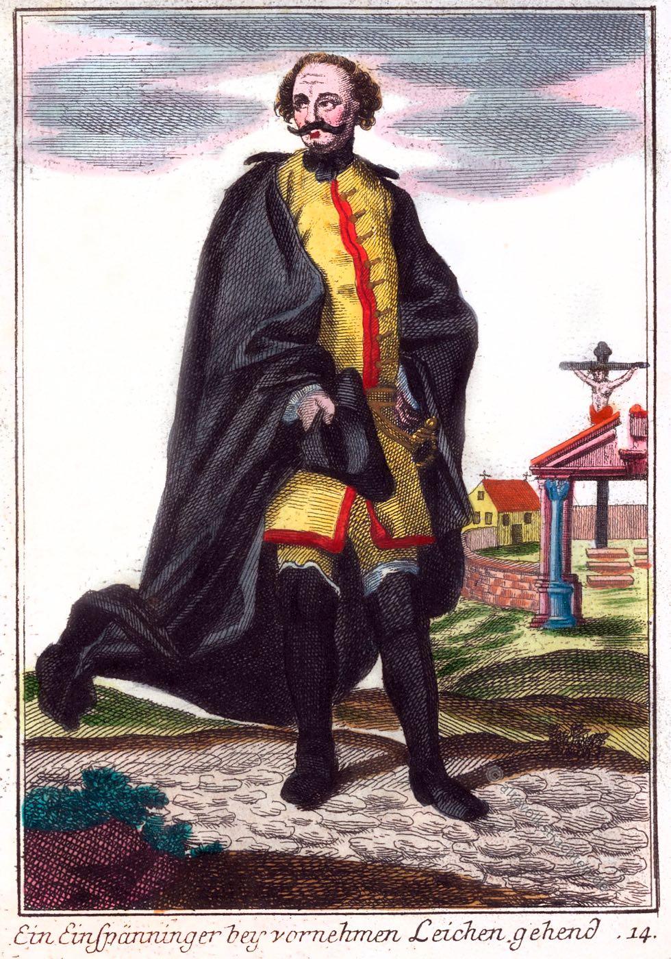 Einspänner, Leichenprediger, Barock, Nürnberg, Kleidung, Kostüm