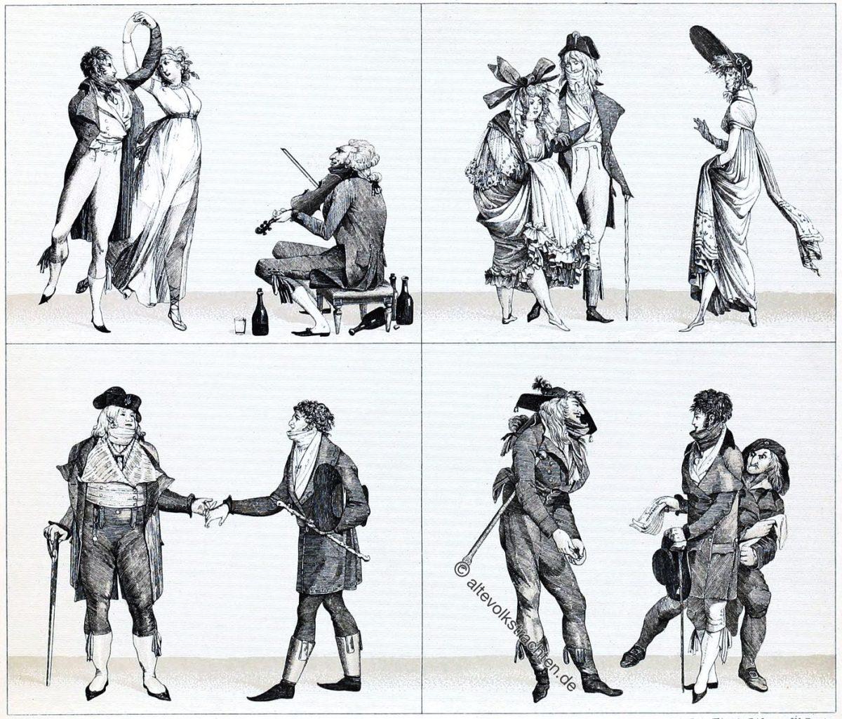 Auguste Racinet, Mode, Kostüme, Merveilleuses, Incroyables, Frankreich