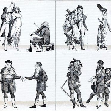 Merveilleuses und Incroyables. Modetypen aus der Zeit des Direktoriums.