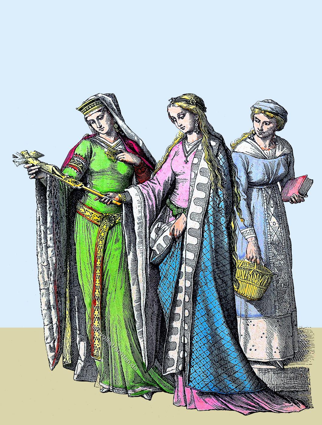 Münchener Bilderbogen, Mittelalter, Kleidung, Kostüm, Gewandung, Bliaut