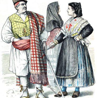 Historische Trachten aus Murcia, Spanien.