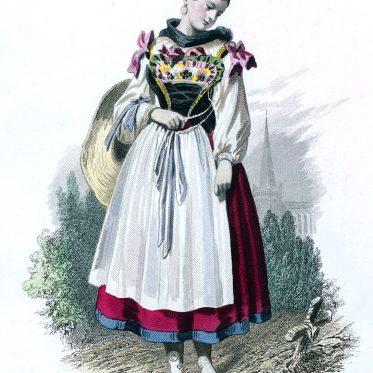 Frankreich. Bäuerin aus der Umgebung von Neuweiler, Elsass.
