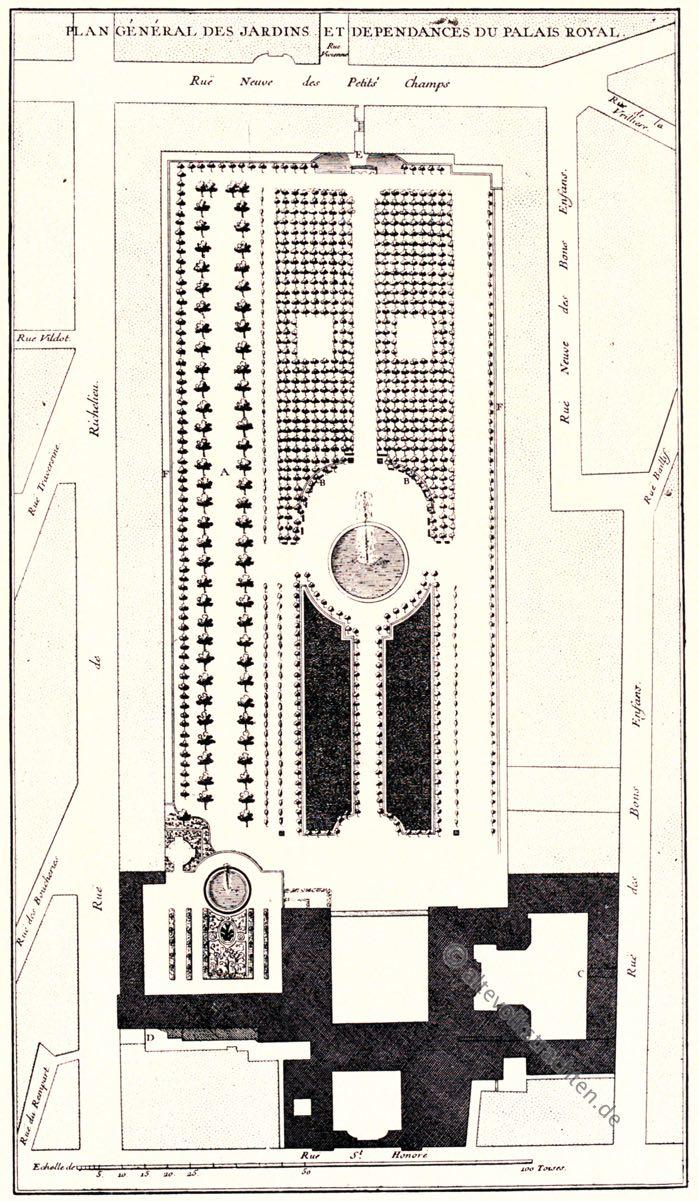 Paris, Palais Royal, Blondel, Gartenanlage, Barock, Lustgarten