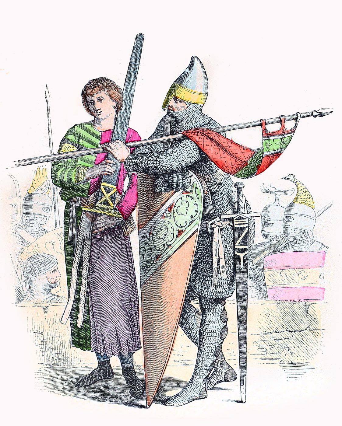 Münchener Bilderbogen, Kreuzzug, Knappe, Ritter, Rüstung, Kleidung, Kostüme, Mittelalter