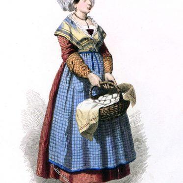 Bäuerliche Tracht aus La Rochelle um 1800.