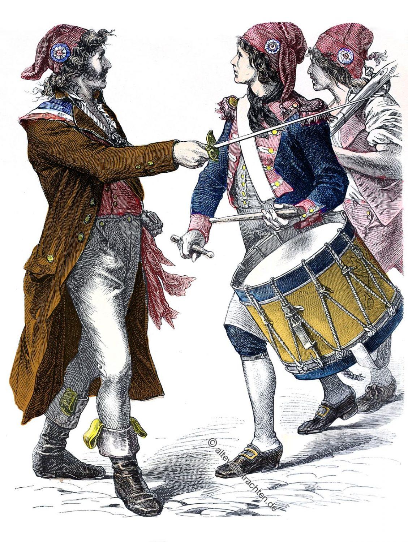 Sansculottes, Sans-culottes, französische Revolution, Kostüm, Mode