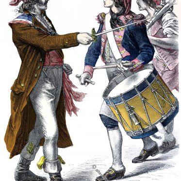 Sansculottes der fr. Revolution mit Jakobinermützen.