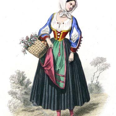 Hirtin aus der Region von Callura, Sardinien um 1800.