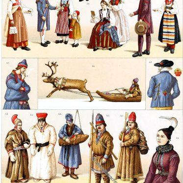 Historische Trachten aus Schweden, Island u. Lappland.