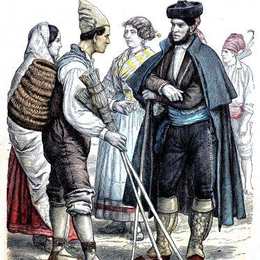 Historische Trachten aus Valencia und Granada um 1850.