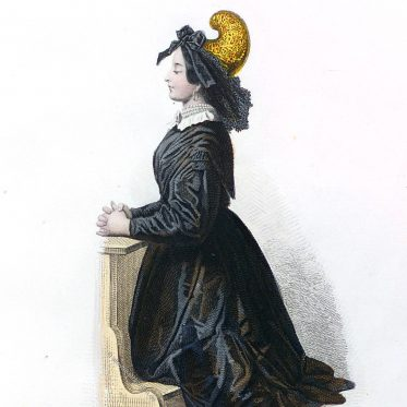 Frau beim Kirchgang mit Goldhaube aus Passau um 1800.
