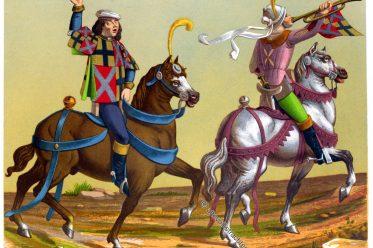 Miniature, Tournois, René d'Anjou, Ritterturnier, Trompeter, Waffenkönig, Mittelalter, Kleidung