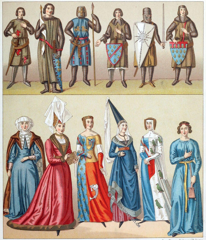 Adel, Trachten, Mittelalter, Frankreich