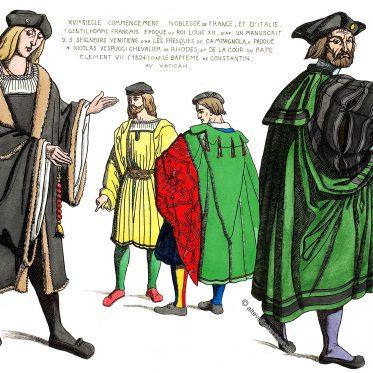 Mode des Adels von Frankreich und Italien um 1510.