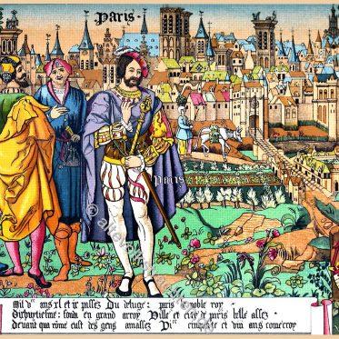 Plan von Paris im 15. Jahrhundert. Beauvais Gobelin-Manufaktur.
