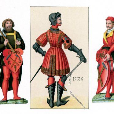 Brandenburgische Hoftracht von 1526 und sächsische Bergarbeiter.